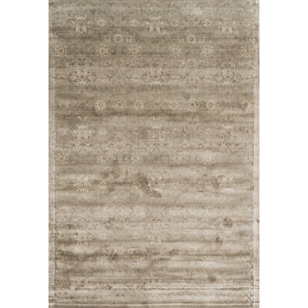 Damask Taupe Rug: Shop Traditional Distressed Taupe Floral Damask Rug