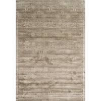 Traditional Distressed Taupe Floral Damask Rug