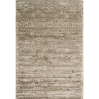 Traditional Distressed Taupe Floral Damask Rug (3 options available)