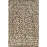 Traditional Distressed Taupe/ Grey Floral Filigree Rug