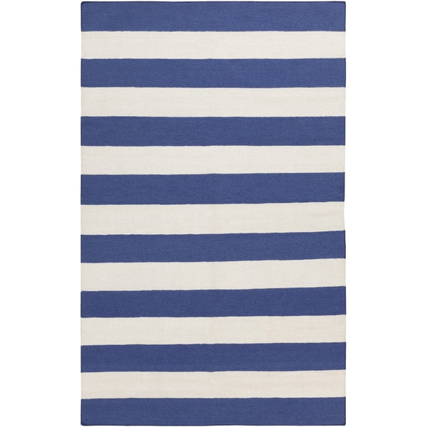 Shop Hand Woven Royalstripe Blue Corn Wool Area Rug 2 X