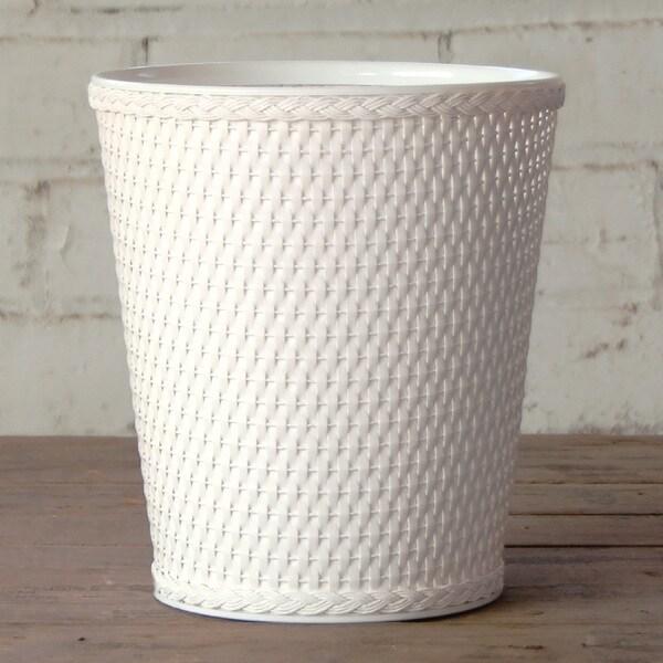 Carter White Round Wastebasket