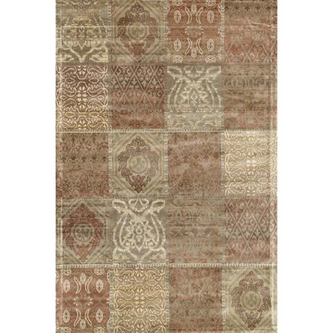 Traditional Distressed Rust/ Beige Patchwork Rug