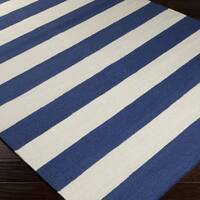 Hand-woven RoyalStripe Blue Corn Wool Area Rug - 5' x 8'