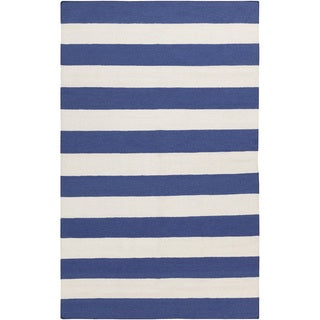 Handwoven RoyalStripe Blue Corn Wool Rug (9' x 13')