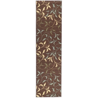 Non-Skid Ottohome Brown Floral Leafs Runner Rug (1'8 x 4'11)