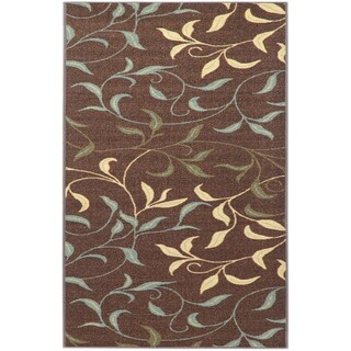 "Non-Skid Ottohome Brown Floral Leafs Area Rug (5' x 6'6"") - Brown/Ivory - 5' x 6'6"