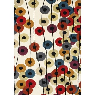 Alliyah Handmade Tufted Multicolor Metro Circles with Cream Background New Zealand Blend Wool Rug (6' x 9')