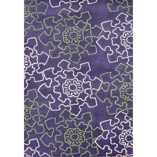 Alliyah Rugs Purple New Zealand Wool Rug (9x12)
