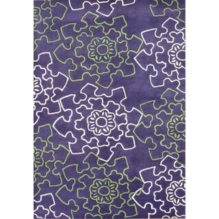 Alliyah Rugs Purple New Zealand Wool Rug (9x12)