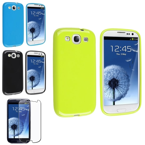 INSTEN Green/ Blue Phone Case Cover/ Screen Protector for Samsung Galaxy SIII/ S3