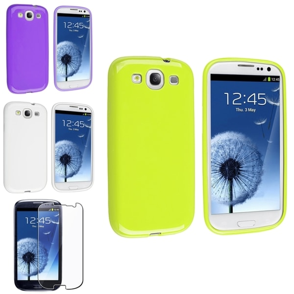 BasAcc Purple Case/ Screen Protector for Samsung Galaxy SIII/ S3