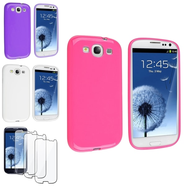 INSTEN White/ Pink Phone Case Cover/ Screen Protector for Samsung Galaxy SIII/ S3