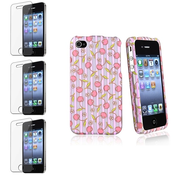 BasAcc Pink/ Purple Case/ Screen Protector for Apple iPhone 4/ 4S