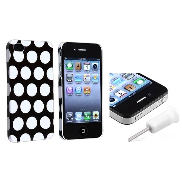 Black w/White Dot Rear Hard Case Cover+White Headset Dust Cap iPhone 4 4S
