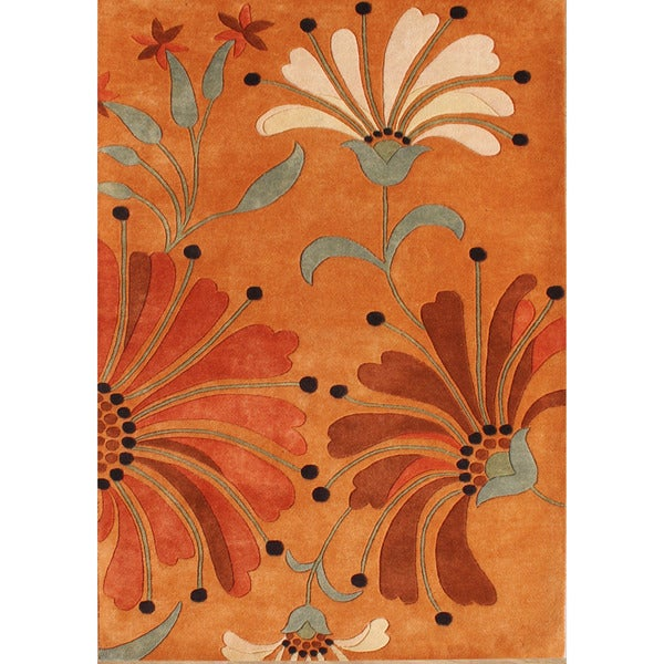 Alliyah Handmade Rust New Zealand Blend Wool Rug (4 x 6)