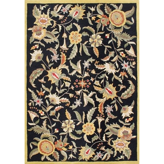 Alliyah Handmade Black New Zealand Blend Wool Rug (9 x 12)