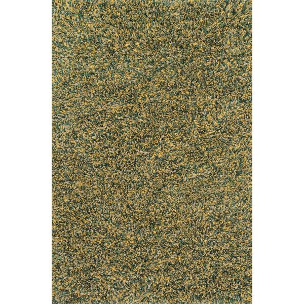 Hand-woven Baxter Teal/ Gold Shag Rug (3'6 x 5'6)