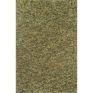 Hand-woven Baxter Teal/ Gold Shag Rug (9'3 x 13)