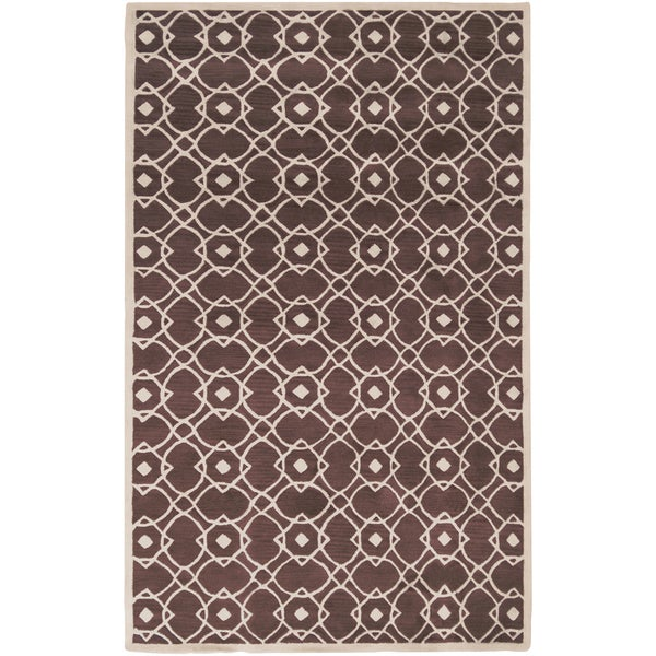 Hand-tufted Laren Brown New Zealand Wool Area Rug - 5' x 8'