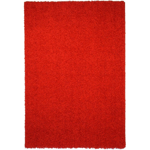 Shag Solid Red Area Rug 3 3 X 4 7 3 3 X 4 7 Free