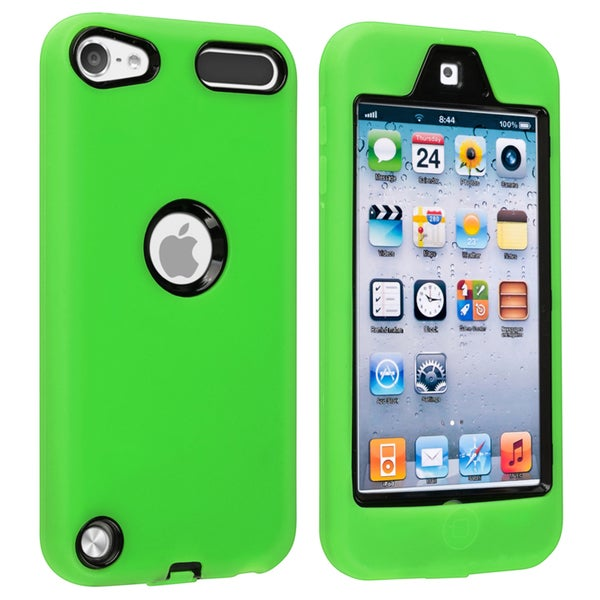 Insten Green/ Black Soft Silicone/ PC Dual Layer Hybrid Rubber Case Cover For Apple iPod Touch 5th/ 6th Gen