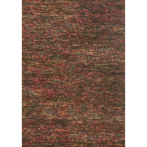 Hand-woven Avani Brown/ Multi New Zealand Wool Rug