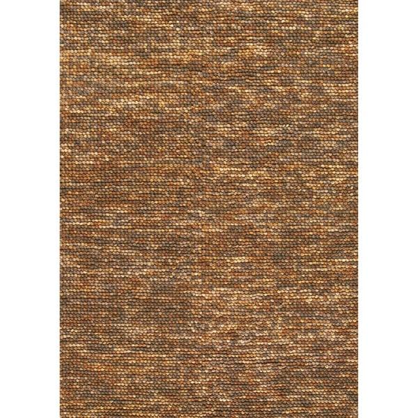 Hand Woven Avani Gold Brown New Zealand Wool Rug