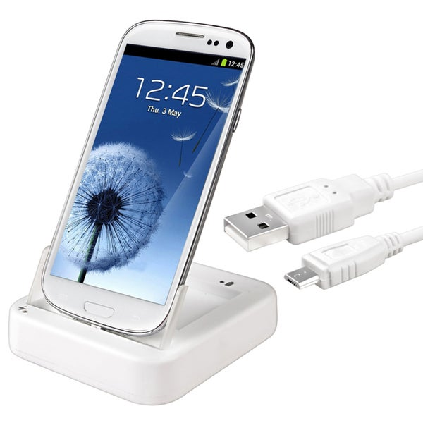 BasAcc White 2-in-1 Cradle with Charger for Samsung Galaxy S III/ S3