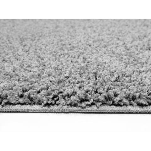 Shag Solid Grey Area Rug (6'7 x 9'3) - 6'7 x 9'3