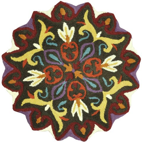 Hand-tufted Penelope Brown Wool Rug - 3' x 3' Round