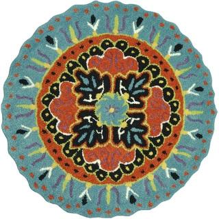Hand-tufted Penelope Teal/ Black Wool Rug (3'0 x 3'0)