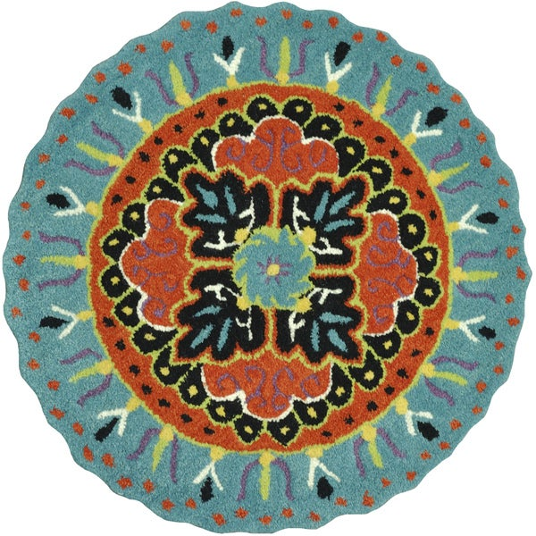 Shop Hand-tufted Penelope Teal/ Black Wool Rug (3'0 X 3'0