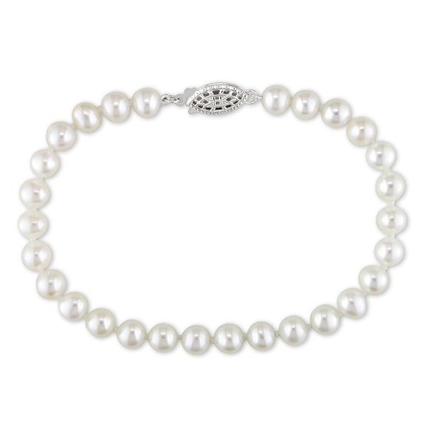 Miadora Sterling Silver Cultured Freshwater White Pearl Strand Bracelet (5-6 mm)