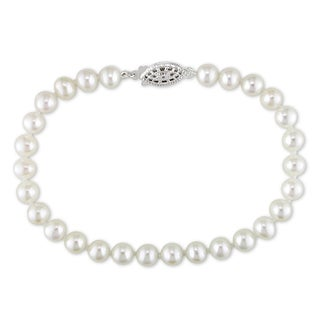 Miadora Sterling Silver Cultured Freshwater White Pearl Strand Bracelet (5 - 6 mm)