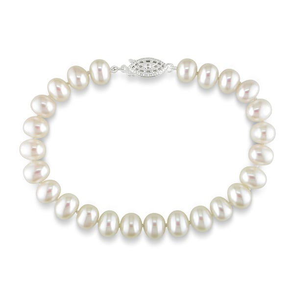 Miadora Sterling Silver White Cultured Freshwater Pearl Bracelet (6.5-7 mm)