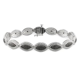 Miadora Sterling Silver 1/6ct TDW Black Diamond Bracelet