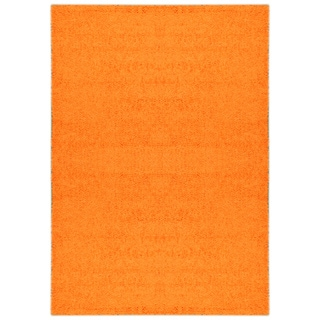 Shag Solid Orange One Color Area Rug (6'7 x 9'3)