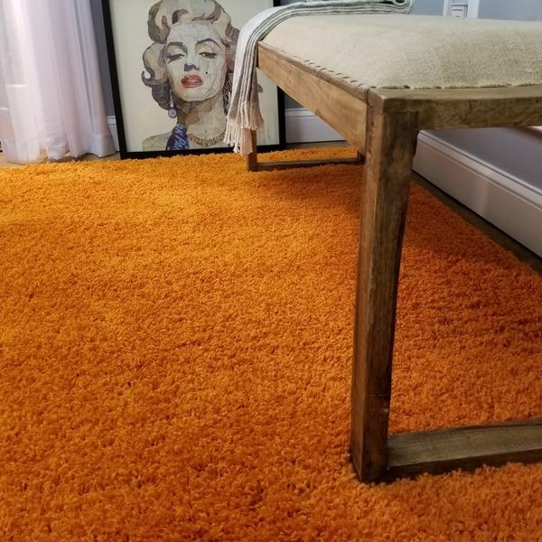 Shag Solid Orange One Color Area Rug (6'7 x 9'3) - 6'7 x 9'1