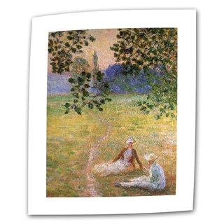 Claude Monet 'Eve in the Meadow at Giverny' Flat Canvas - Multi