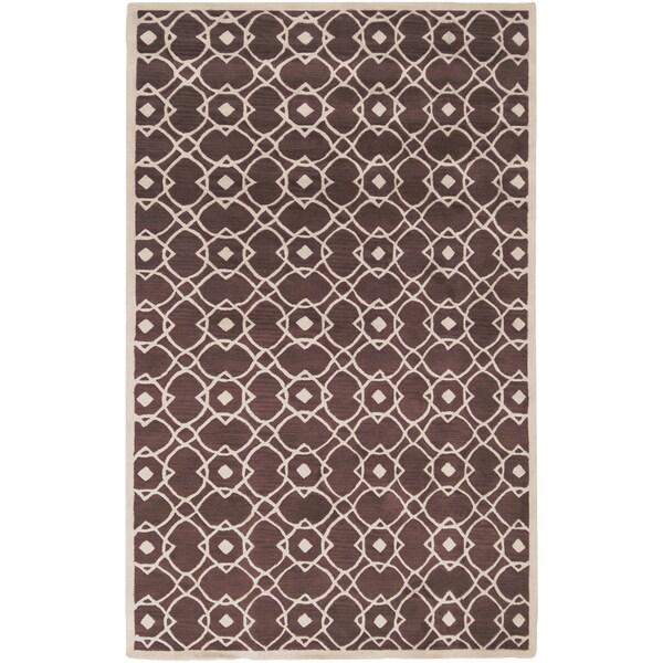 Hand-tufted Laren Brown New Zealand Wool Area Rug - 8' X 11'