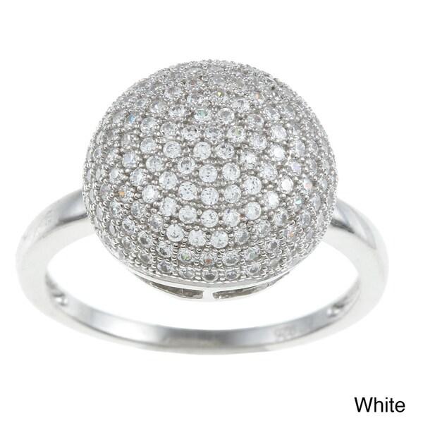 La Preciosa Sterling Silver Pave Cubic Zirconia Circle Ring