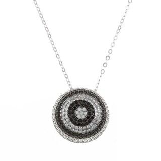 La Preciosa Sterling Silver White and Black Cubic Zirconia Necklace