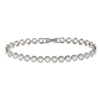 La Preciosa Sterling Silver Cubic Zirconia Open Circle Link Bracelet