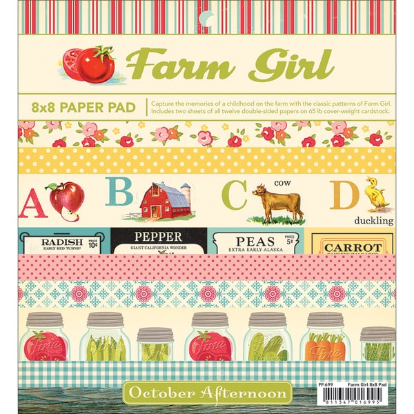 "Farm Girl Paper Pad 8""X8"" 24 Sheets-12 Double-Sided Designs/2 Each"