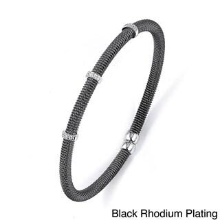 Sterling Silver Cubic Zirconia Beaded Bracelet