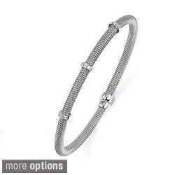 Sterling Silver Cubic Zirconia Beaded Bracelet