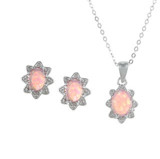 La Preciosa Sterling Silver Created Pink Opal Oval Jewelry Set