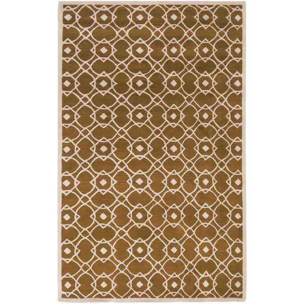 Hand-tufted Almelo Yellow Wool Rug (2' x 3')