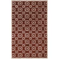 Hand-tufted Weesp Red New Zealand Wool Area Rug - 5' x 8'